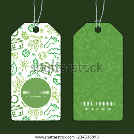 Vector ecology symbols vertical round frame pattern tags set - stock vector