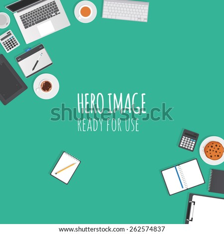 Vector editable banner - hero image made from stationery objects typical for graphic studio and office. Ready for use. - stock vector