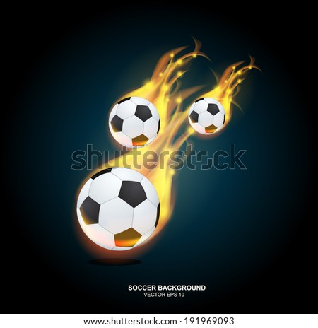 Vector editable fantastic football background with a soccer ball  - stock vector