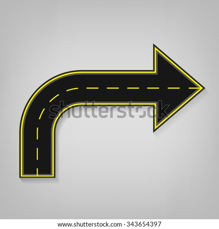 Vector editable illustration of an abstract road direction arrow with road surface marking in white and yellow colours. Useful for transportation, travelling, progression and business design. - stock vector