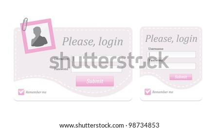 Vector editable login ,register form in two frames - stock vector