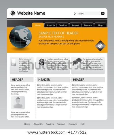 vector editable website template - stock vector