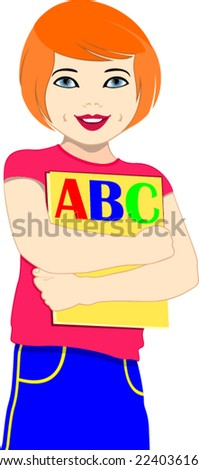 vector education and school little student girl with books - stock vector