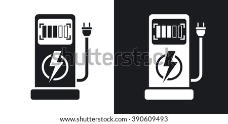 Vector electric car charging station icon. Two-tone version on black and white background - stock vector