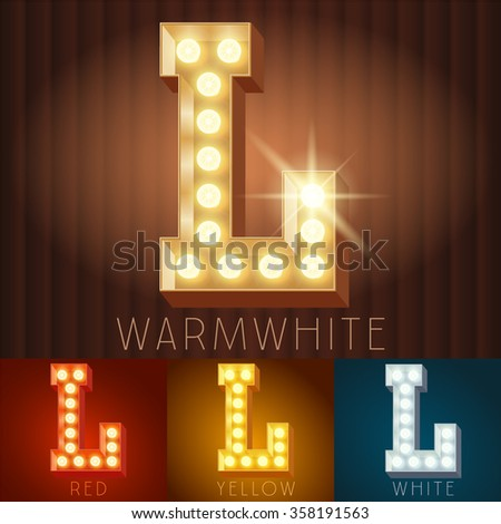 Vector electric light up lamp alphabet in hard font. Letter L - stock vector
