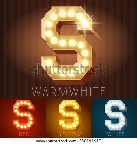 Vector electric light up lamp alphabet in hard font. Letter S - stock vector