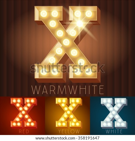 Vector electric light up lamp alphabet in hard font. Letter X - stock vector