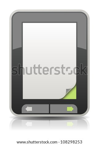 Vector electronic book reader with a curled page corner - stock vector