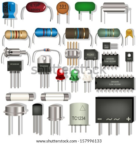 Vector electronic components - stock vector