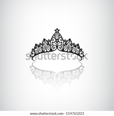 vector elegant decorated crown logo icon with star isolated - stock vector