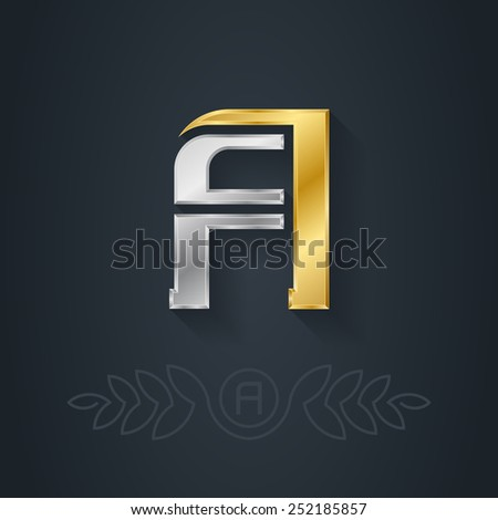 Vector elegant gold and silver font. Letter A. Template for company logo with monogram element. 3d Design element or icon. - stock vector