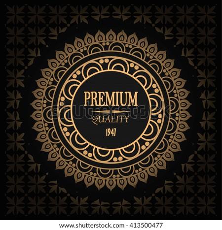 vector elegant golden label, logo on seamless pattern, gradient and signature premium quality - stock vector