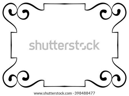 Vector elegant horizontal black frame on a white background - stock vector