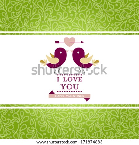 Vector elegant invitation card with floral ornament background. I Love You. Perfect as invitation or announcement. - stock vector
