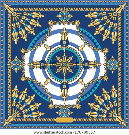 vector elegant square pattern, fashion head scarf design with gold chains, navy blue and gold - stock vector