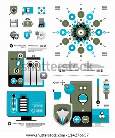vector elements for a magazine infographic - stock vector