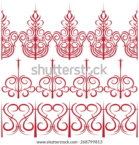 Vector elements for design. Set of borders in the form of a fence - stock vector