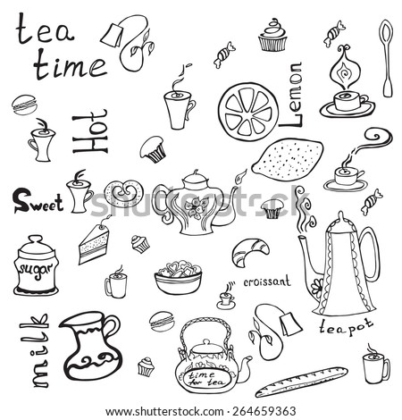 Vector elements with  tea cups ,teapots and cakes  in graphic style. - stock vector