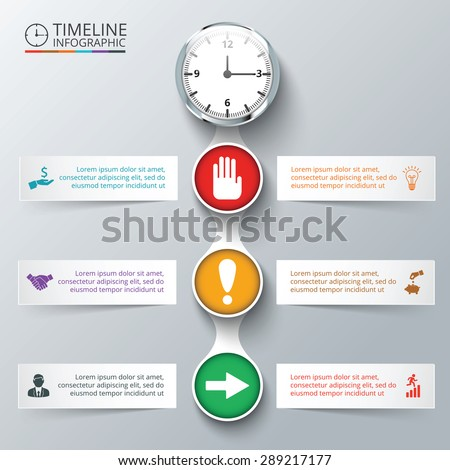 Vector elements with watch for timeline infographic. Template for diagram, graph, presentation and chart. Business concept with 6 options, parts, steps or processes. Abstract background. - stock vector