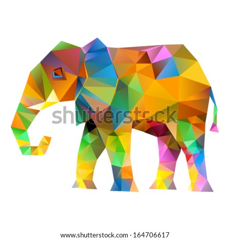 Vector - Elephant abstract isolated on a white backgrounds  - stock vector