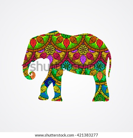 Vector Elephant with Mandala Patterns  - stock vector