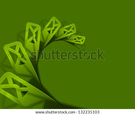 Vector email icon on sticker design. - stock vector