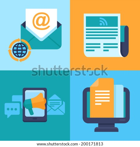 Vector email marketing concepts - flat trendy icons - newsletter and subscription - stock vector