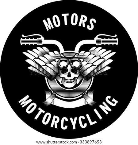vector emblem motorcycle Steam punk on a black background - stock vector