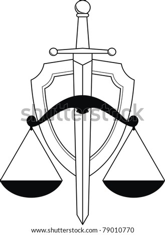 Vector Emblem of justice - shield, sword and scales. Symbol. Isolated illustration (black and white silhouette, contour) on white background. - stock vector