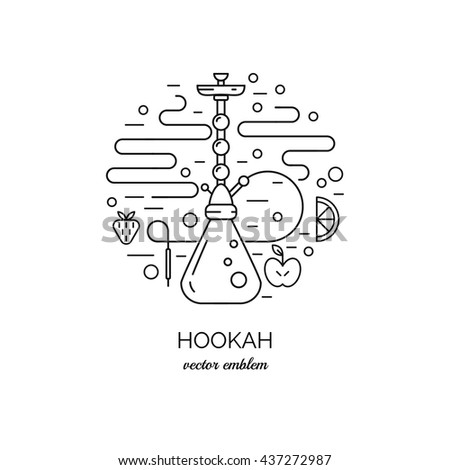 Vector emblem with  hookah in trendy linear style. Elegant background - stock vector