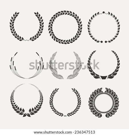 Vector emblems. laurel wreath. Victory  and success. - stock vector