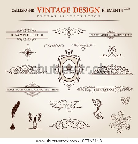 Vector emblems set. Calligraphic vintage elements and page decoration premium quality collection. floral design - stock vector