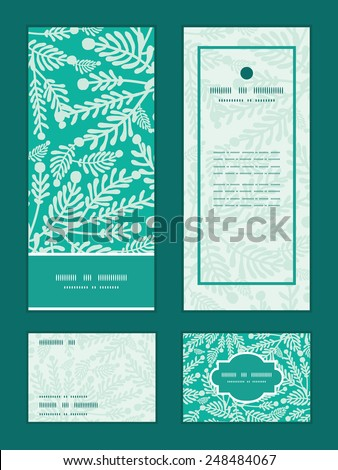 Vector emerald green plants vertical frame pattern invitation greeting, RSVP and thank you cards set - stock vector