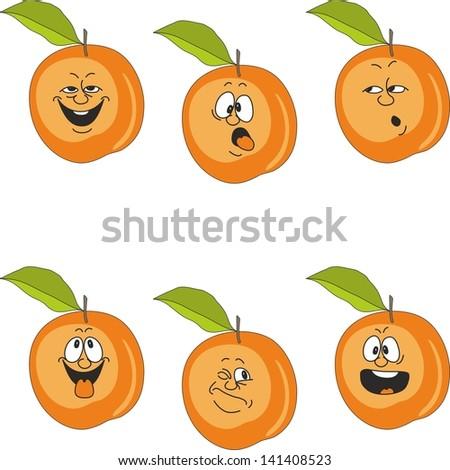 Vector.Emotion cartoon peach set 016 - stock vector
