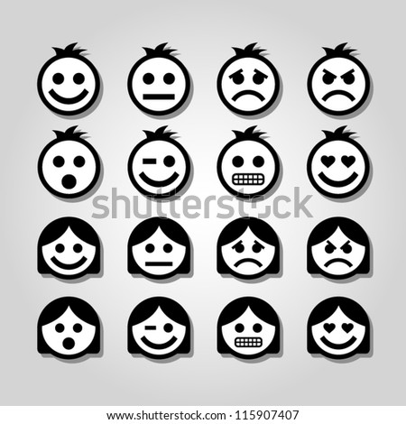 Vector emotion icons. - stock vector