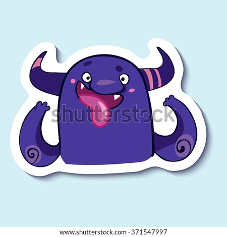 Vector emotion sticker with fooling monster on blue background. Cutting up monster. April fools day. Fool. - stock vector