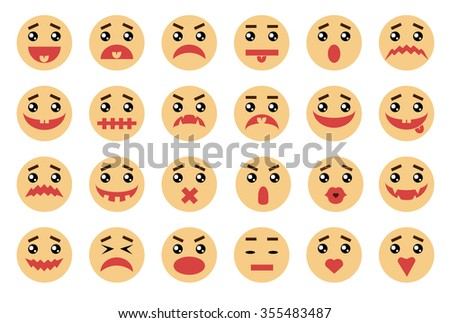 Vector emotional face 24 icons set. Smiley faces icons cartoon set. Emotion Variation. Simple flat style design elements. Facial expressions Illustration isolated on white background. - stock vector