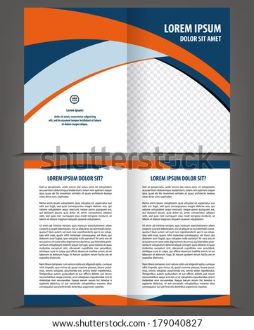 Vector empty bi-fold brochure print template design - stock vector