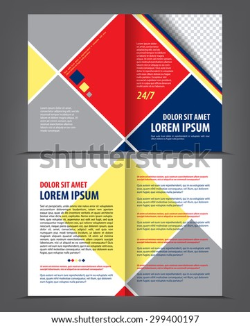 Vector empty bi-fold brochure print template design, newsletter booklet layout with background colored squares, grey, red, dark blue, yellow - stock vector