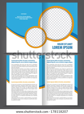 Vector empty bi-fold brochure template design with blue and orange elements - stock vector