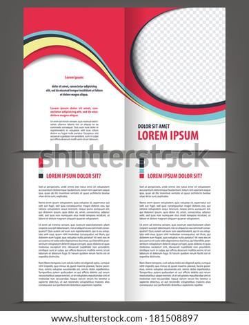 Vector empty bifold brochure print design template - stock vector