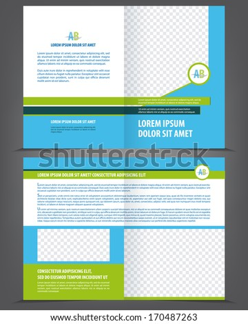 Vector empty brochure template design with blue and green elements - stock vector
