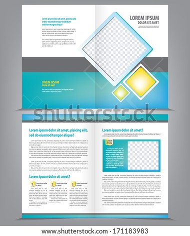 Vector empty brochure template design with bright blue elements - stock vector