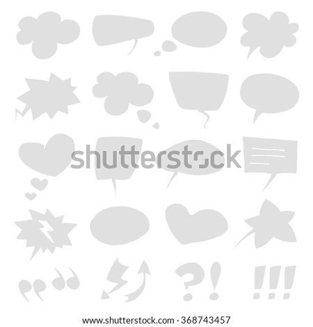 Vector empty light grey speech bubbles collection set isolated on white background.  - stock vector