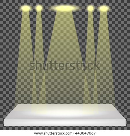 Vector Empty Shelf Isolated on Checkered Pattern. Spotlights Set - stock vector