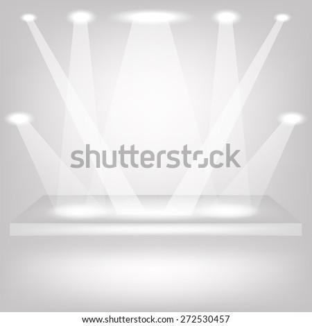 Vector Empty Shelf on Grey Background. Spotlights Illuminated the Empty Shelf. - stock vector