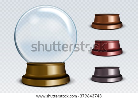 Vector Empty Snow Globe Set. White transparent glass sphere on a stand with glares and highlights.  - stock vector