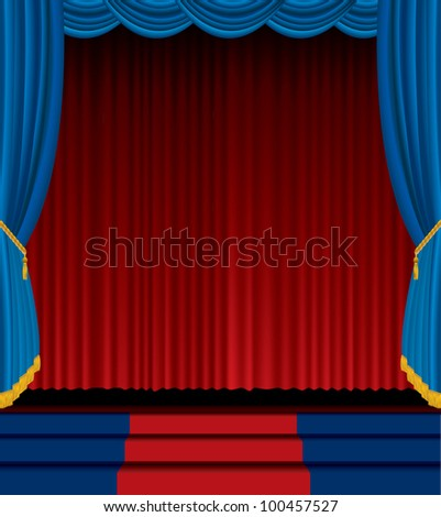 vector empty stage with red and blue curtain - stock vector