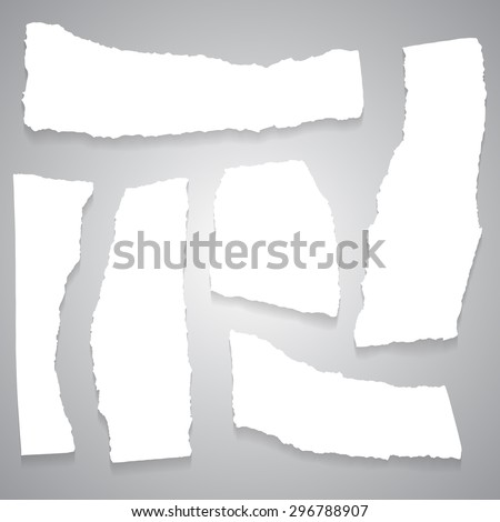 Vector empty torn label white closeup - stock vector