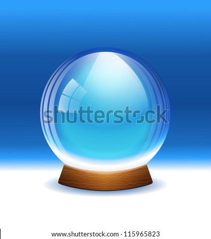 Vector empty transparent snow globe. Layered. - stock vector